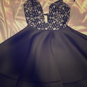 Skater black and silver bustier dress